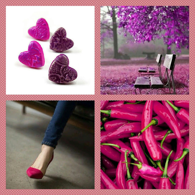 Magenta purple heart earrings
