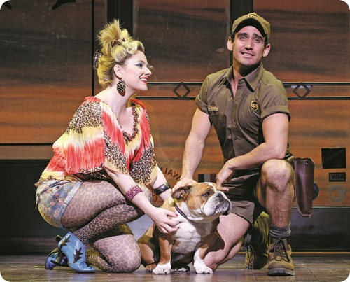 Helen Dallimore as Paulette and Mike Snell as Kyle in LEGALLY BLONDE (c) Jeff Busby