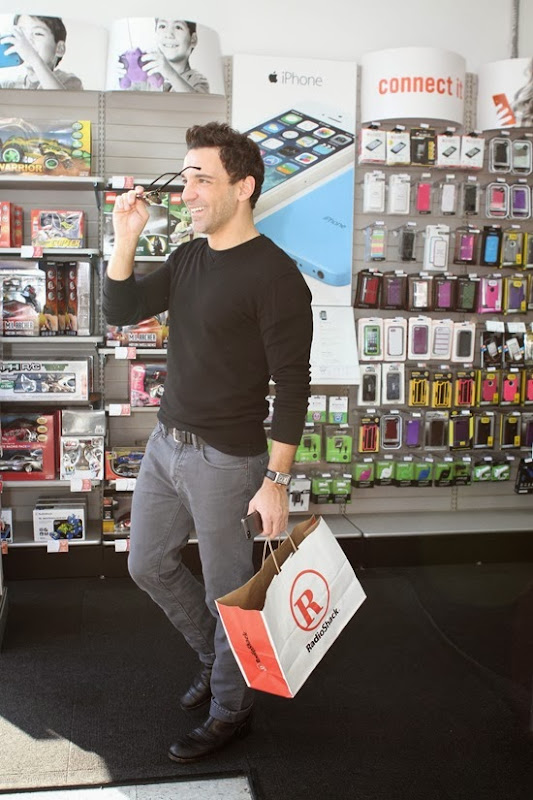 George Kotsiopoulos on his way out of RadioShack in West Hollywood