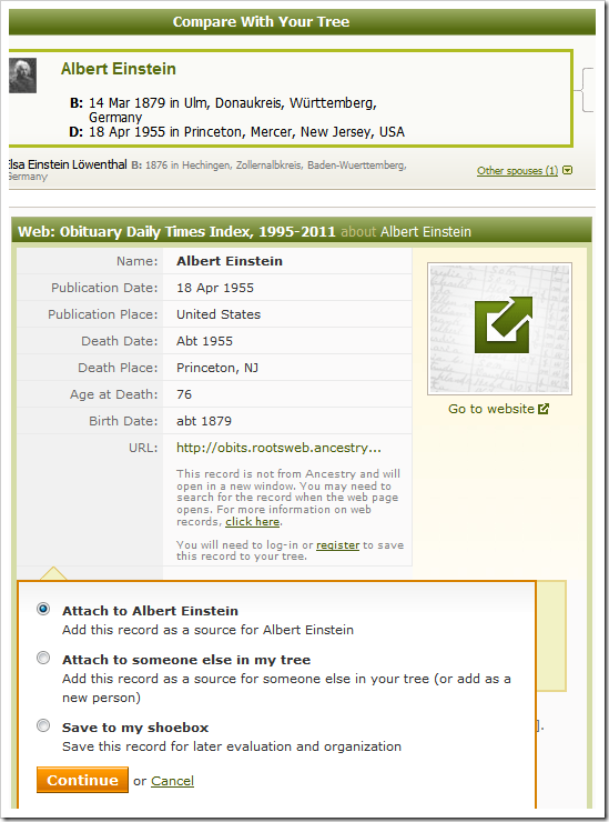 Attach a record to an Ancestry Member Tree