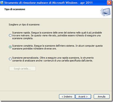 Strumento di rimozione malware per Microsoft