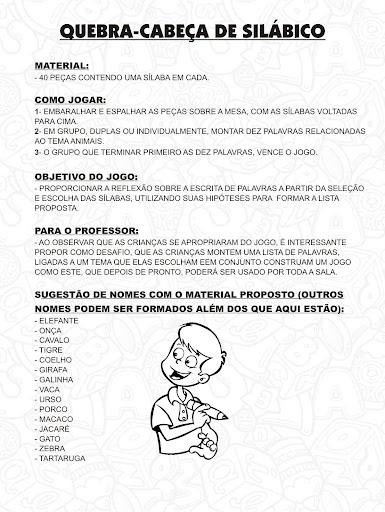 QUEBRA CABEÇA DE SILABICO