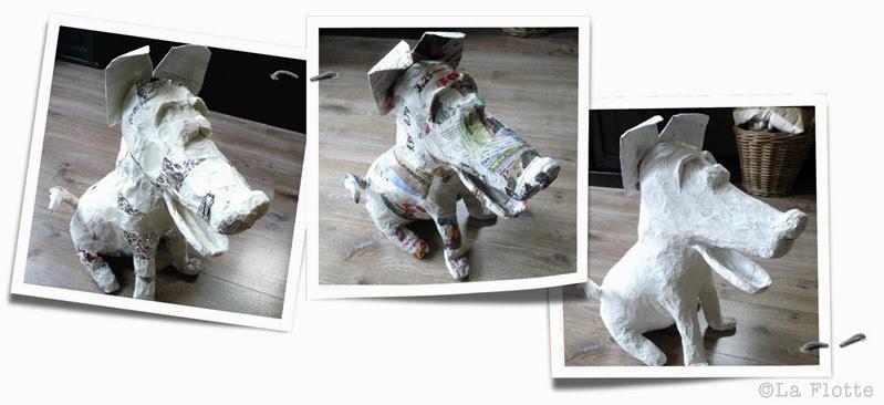 papier mache hond 2