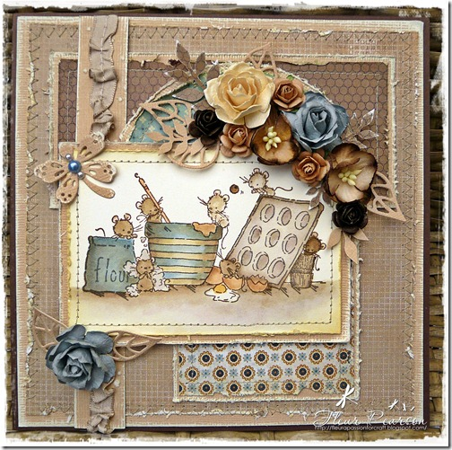 Craft Stamper Card.brown blue &amp; cream