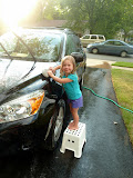 Washing mommy's car. (August)