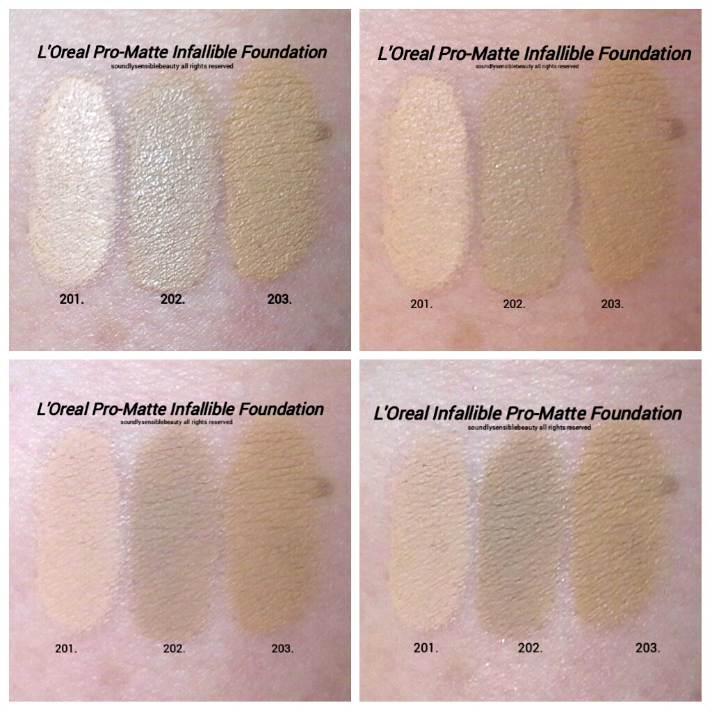 L'Oreal Infallible Pro-Matte Foundation Swatches of Shades 101 Classic Ivory, 102 Shell Beige, 103 Natural Buff, *Shades are mislabeled in picture as 201, ...