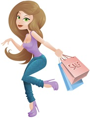 dibujo-mujer-chica-shopping-compras-2