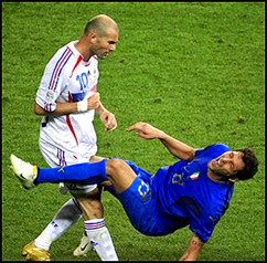The iconic headbutt of Zidane to mischievious Materazzi