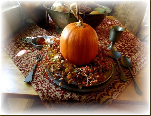 Pumpkins on pewter