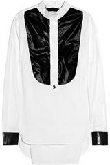 Karl Blanca PVC-front cotton-poplin shirt