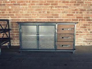 """54"""" x 29"""" x 20"""" T Ellis console, 2 doors, 3 walnut drawers"""