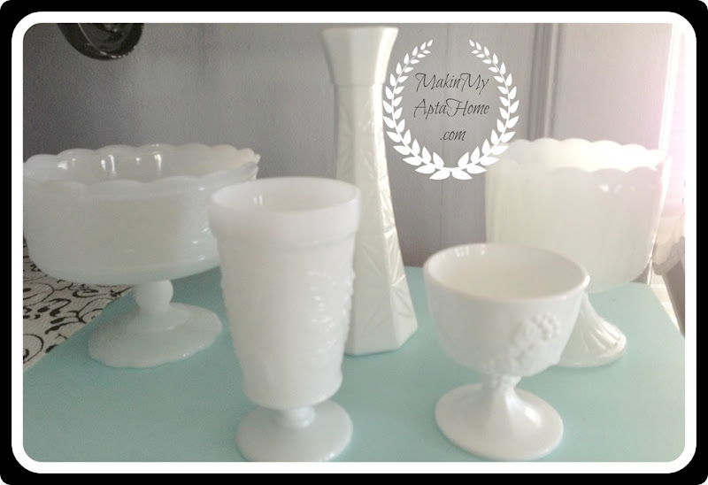 March white milk glass thrift mmah