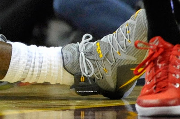 James Debuts Cool Grey  Yellow LeBron 12 PE vs Hawks