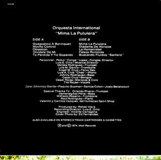 Orquesta Internacional  MIMA LA PULULERA contraportada