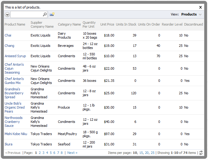 Limited subset of 74 products displayed in the lookup.
