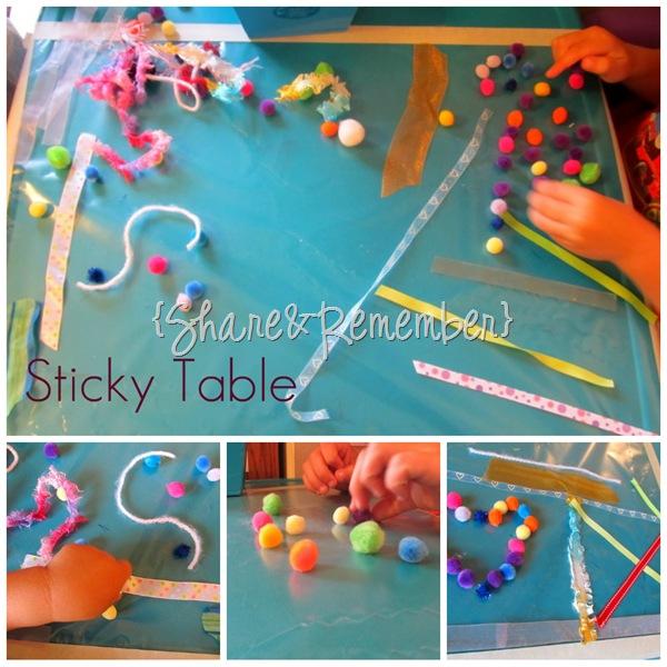 Sticky Table Sensory Play