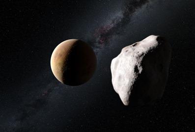 ilustração do asteroide Lutécia próximo de um planeta