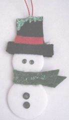 button snowman ornament 2011 with rhinestones