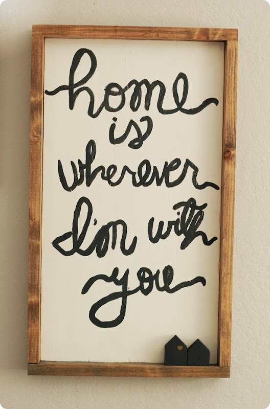 handpainted and built home is wherever I'm with you wood sign from alwaysinwonder.com