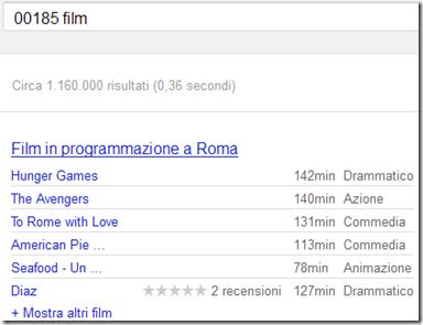 Trovare film in programmazione nella propria città con Google