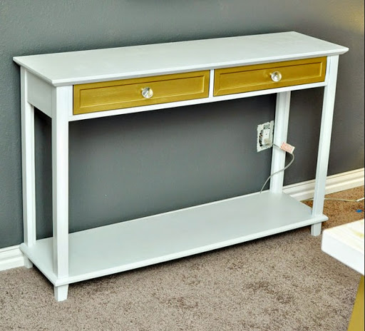 Gold White Console Table Furniture Makeover Monica Wants It