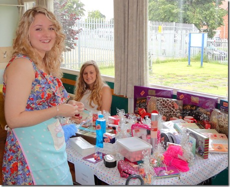 Afternoon tea – l-r – Jennifer Foden and Katie Smith on tombola stall