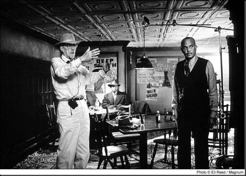 Altman directs Harry Belafonte who plays a crime lord in a scene from Kansas City.