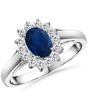 Oval Sapphire and Round Diamond Vintage Ring(1)