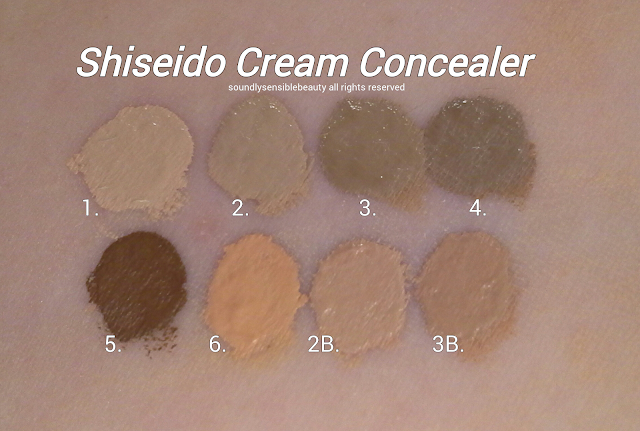 Shiseido Natural Finish Cream Concealer; Review & Swatches of Shades; #1 Light, #2 Light/Medium, #3 Medium, #4 Dark,  #5 Deep,#6 Honey, #2B Light Medium Beige, & #3B Medium Beige: