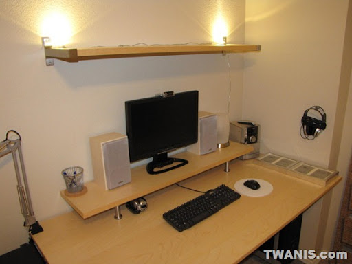 ikea galant computer desk and monitor raiser with book shelf