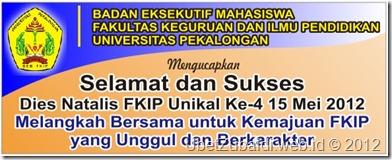Spanduk Ucapan Selamat Dies Natalis FKIP Unikal ke-4 2012