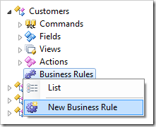New Business Rule context menu option for Customers controller.