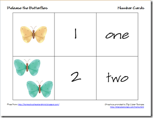 butterflies number cards 1