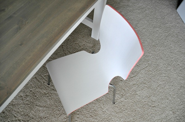 Edge Painted Chair Coral and White