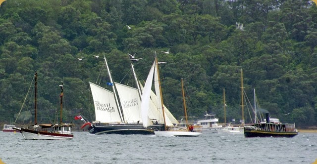 IFR - Tall Ships entering Sydney Harbour - the heel on the sailing ship shows the strength of the wind