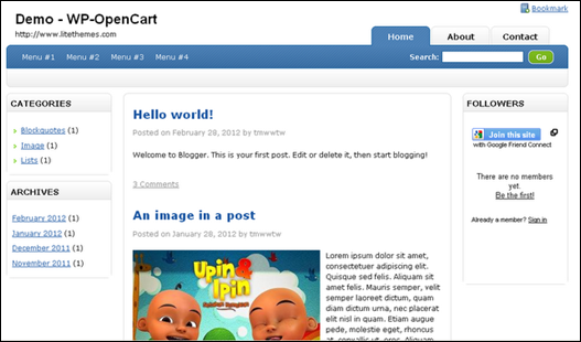 WP-OpenCart Blogger Template