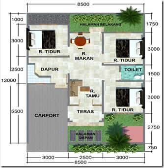 Denah Rumah Minimalis 3 Kamar Tidur 12 x 8,5