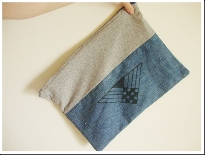 DIY fabric and jeans clutch geometric