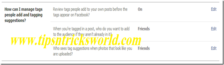 Facebook Photo Tag setting