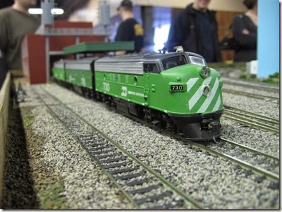 IMG_5439 Burlington Northern F7A #730 on the LK&R HO-Scale Layout at the WGH Show in Portland, OR on February 17, 2007