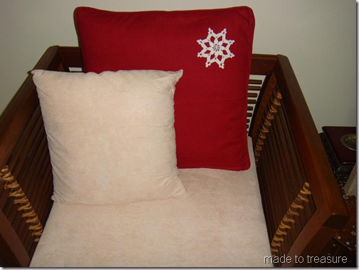 christmas cushion with snowflakes
