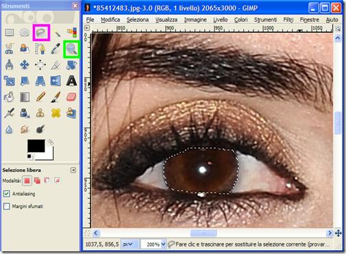 Cambiare colore occhi con GIMP