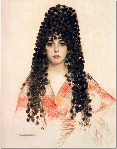 ramon casas i carbo_Mujer con mantilla española de madroños_1915