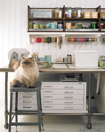 This stool makes a perfect perch for Martha's cat. (Martha Stewart Living)