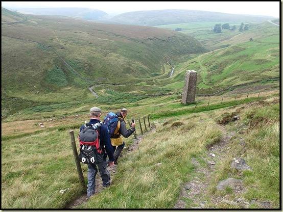 Descending past the chimney, beyond Dane Bower