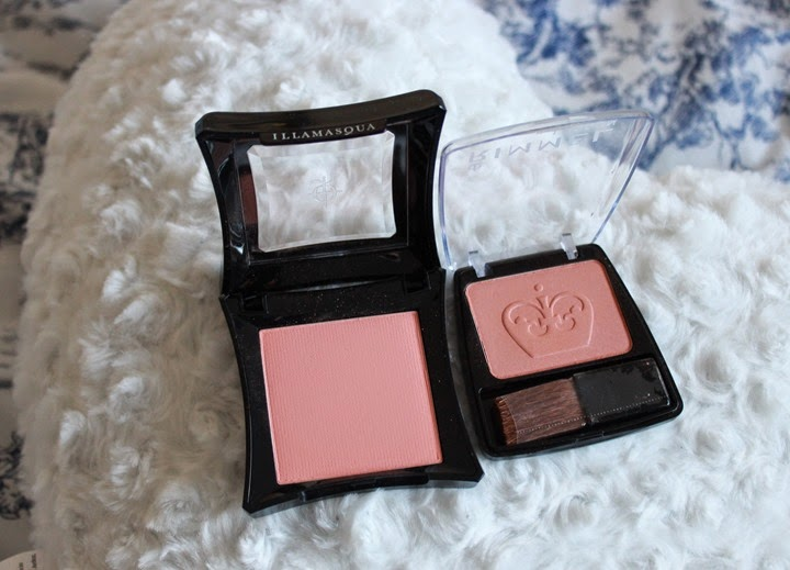 illamasqua blush in lover peach matte and rimmel blush in coral