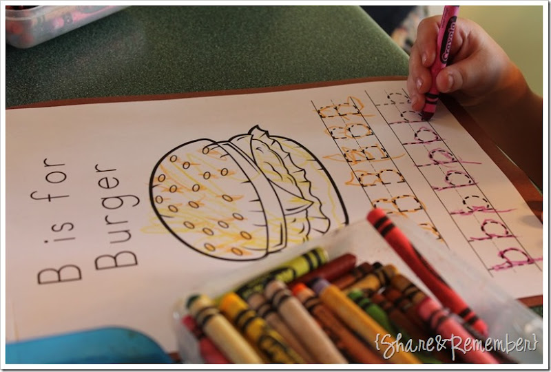 b is for burger letter printable