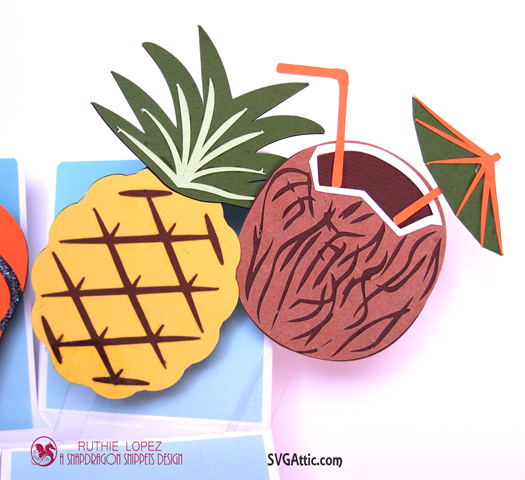 Box in a card - Summer Lovin´Blog Hop - SnapDragon Snippets - Pineapple - Coconut - Ruthie Lopez 3