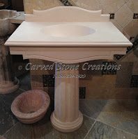 Florence New Crema Marfil Limestone Pedestal Sink 22xW34xH34