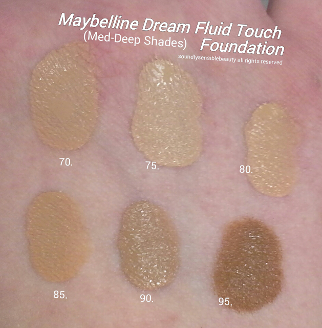 Maybelline Dream Wonder Fluid Touch Foundation; Liquid-Powder Swatches of Shades & Review